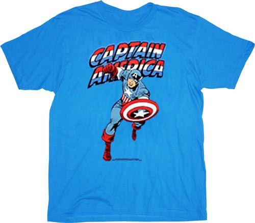 Captain America Classic Charging Iris Blue Adult T-shirt