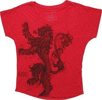 Game of Thrones Lannister Lion Sigil Vintage Dolman Ladies Tee