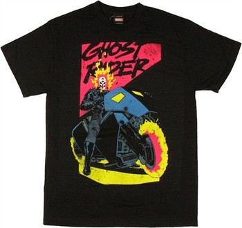 Marvel Comics Ghost Rider 90s Style Neon T-Shirt