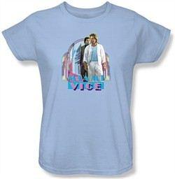 Miami Vice Ladies T-shirt Miami Heat Light Blue Tee Shirt