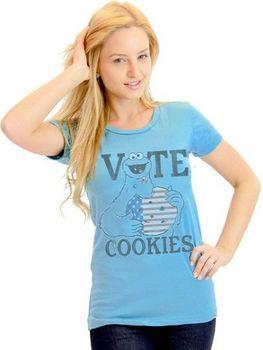 Sesame Street Vote Cookies Cookie Monster Juniors Light Blue T-Shirt