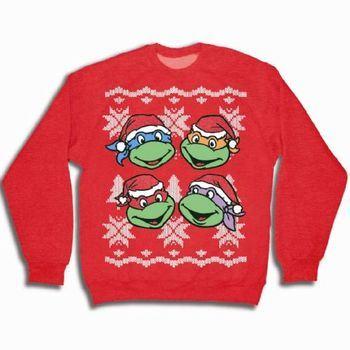 TMNT Teenage Mutant Ninja Turtles Faces Red Ugly Christmas Sweatshirt