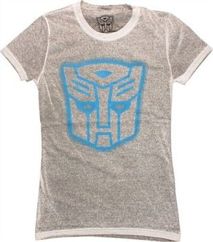 Transformers Autobot Stencil Logo Reverse Mineral Wash Distressed Baby Doll Tee