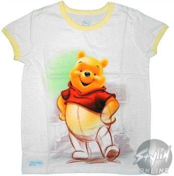 Disney Winnie the Poo Sketch Ringer Girls Youth T-Shirt
