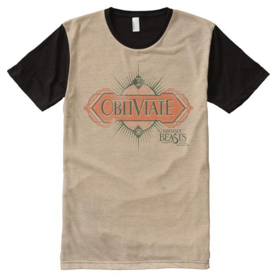 Orange Art Deco Obliviate Spell Graphic All-Over Print Shirt