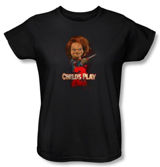 Child's Play 2 Ladies T-shirt Movie Here's Chucky Black Tee Shirt