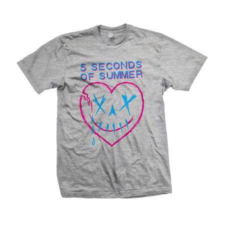 5 Seconds of Summer: Heartbreak Grey Skull T-Shirt