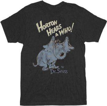 Dr. Seuss Horton Hears A Who Distressed Black Adult T-shirt