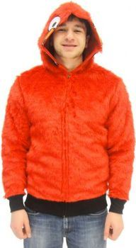 Sesame Street Elmo Red Faux Fur Full Zip Adult Costume Hoodie Sweatershirt Jacket