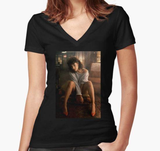 Flashdance jennifer beals Women's Fitted V-Neck T-Shirt by Stekc T-Shirt