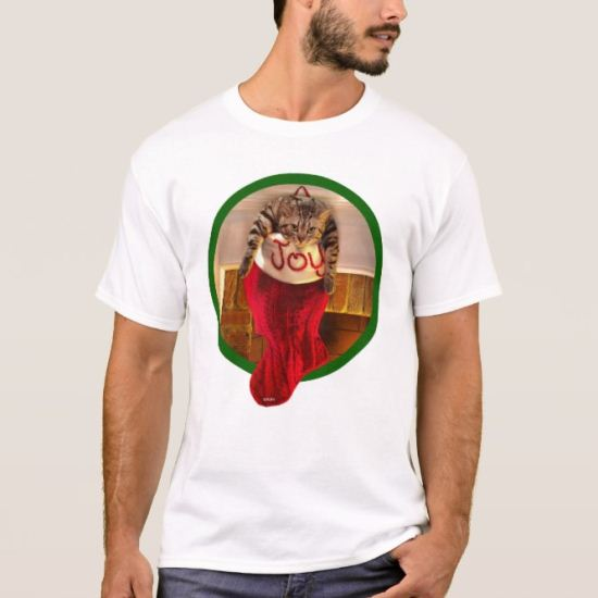 Fat Cat in Christmas Stocking T-Shirt