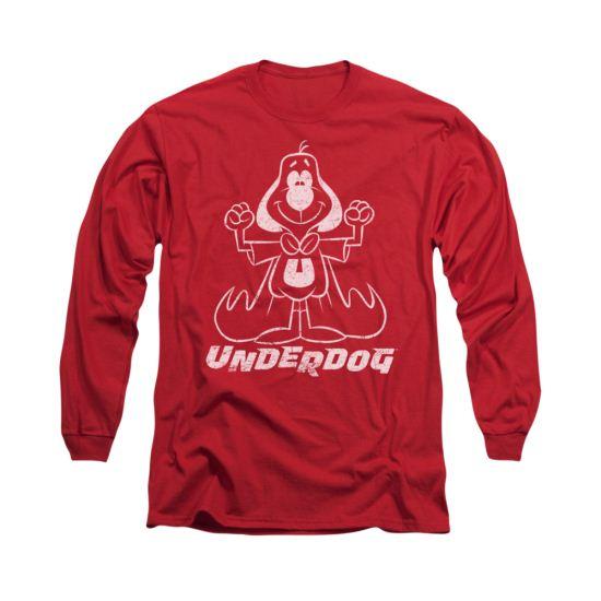 Underdog Shirt Outline Under Long Sleeve Red Tee T-Shirt