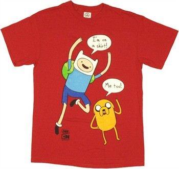 Adventure Time Finn Jake I'm On a Shirt Me Too Speech Bubbles Red T-Shirt