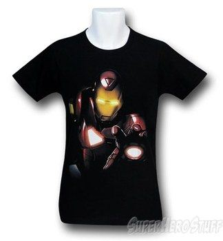 Iron Man Black Portrait 30 Single T-Shirt