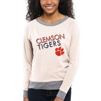 Clemson Tigers Women's Crazy Love Boat Neck Long Sleeve T-Shirt – Cream