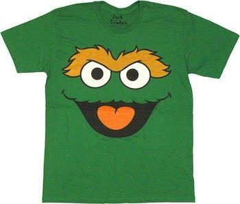 Sesame Street Oscar the Grouch Big Face T-Shirt Sheer