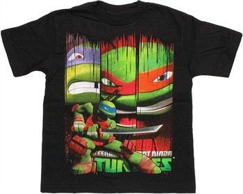 Teenage Mutant Ninja Turtles Leonardo Pose with Banners Juvenile T-Shirt
