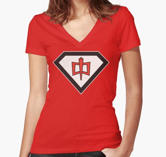 The Greatest Kryptonian-American Hero Women's Fitted V-Neck T-Shirt by TheOuterZone T-Shirt