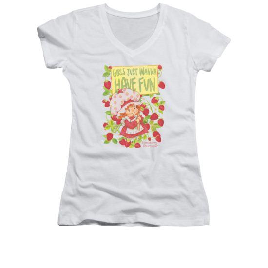 Strawberry Shortcake Shirt Juniors V Neck Fun One White Tee T-Shirt