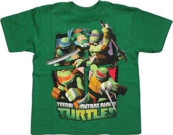 Teenage Mutant Ninja Turtles Action Grid Juvenile T-Shirt