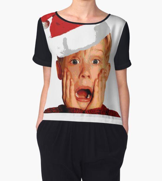 'Home Alone Santa Hat T-Shirt: Macaulay Culkin Christmas Holiday' Women's Chiffon Top by Essetino T-Shirt