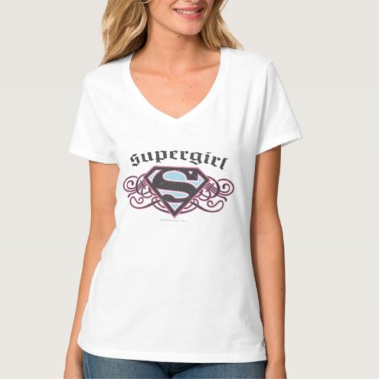 Supergirl Pin Strips Black and Pink T-Shirt