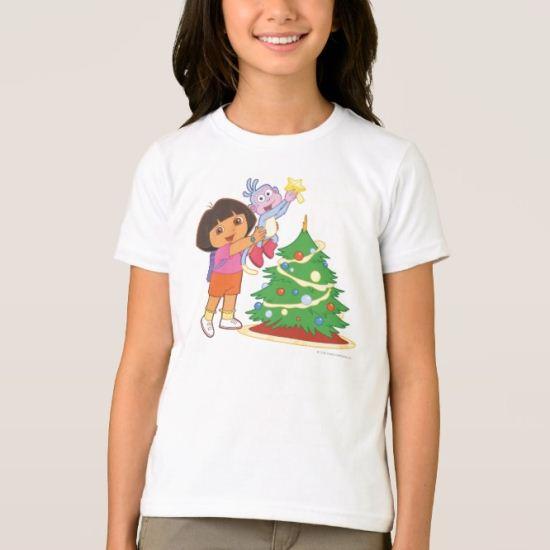 Dora The Explorer | Dora & Boots Decorate a Tree T-Shirt