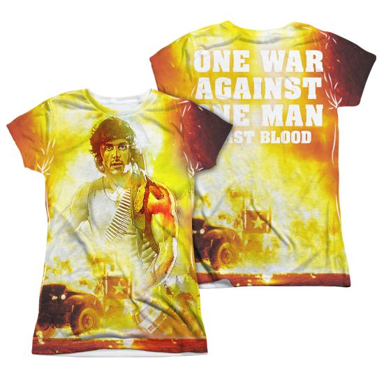 Rambo First Blood Poster Sublimation Juniors Shirt Front/Back Print