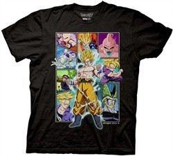 Dragonball Z Shirt Character Frames Collage Adult Black Tee T-Shirt