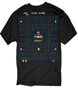 Pac-Man Game Start Arcade Screen Adult Black T-shirt