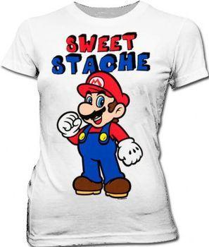 Nintendo Super Mario Sweet Stache Juniors White T-Shirt
