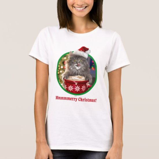 Cute Christmas Hot Cocoa Kitty T-Shirt