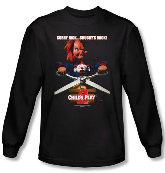 Child's Play 2 T-shirt Movie Chucky's Back Black Long Sleeve Tee Shirt