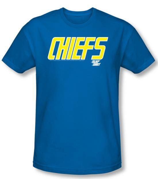 Slap Shot T-shirt Hockey Chiefs Logo Adult Royal Blue Slim Fit Shirt