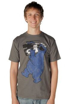 Sesame Street Cookie Monster Boombox Charcoal Gray Adult T-shirt