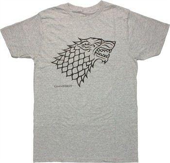 Game of Thrones Stark Direwolf Sigil Gray Heather T-Shirt Sheer