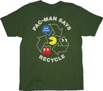 Pac-Man Says Recycle Military Green T-shirt