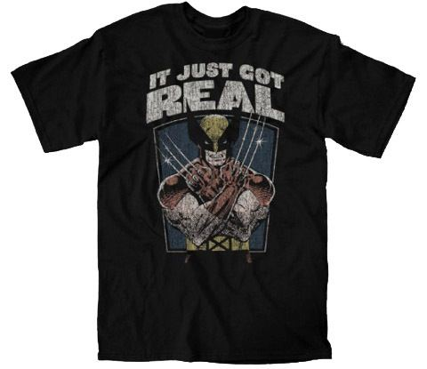 X-Men Wolverine Distressed It Just Got Real Adult Black T-shirt