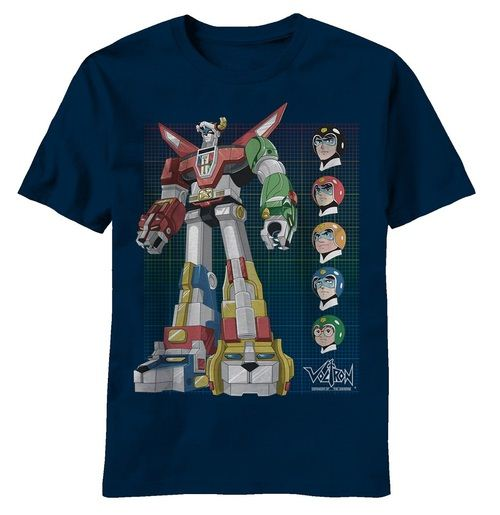 Voltron Defender of the Universe Grid Adult Navy T-Shirt