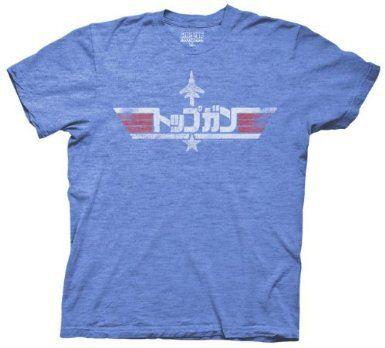 Top Gun Japanese Bootleg Logo Heather Blue Mens T-shirt