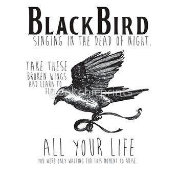Blackbird The Beatles Minimalist Typography Tee