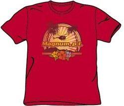 Magnum PI T-shirt Hawaiian Sunset Classic Adult Red Tee Shirt