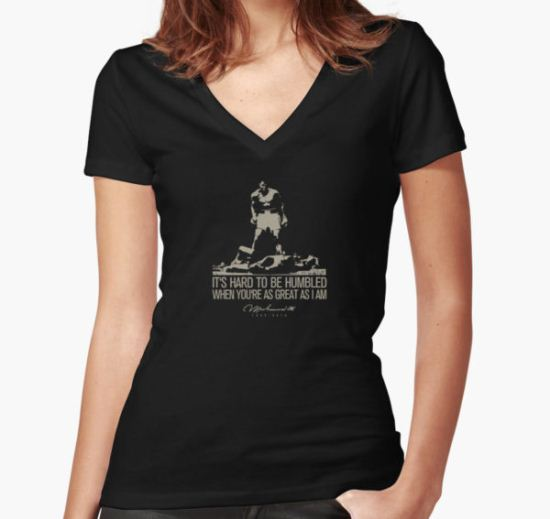 Muhammad Ali Women's Fitted V-Neck T-Shirt by Jimmy Rivera T-Shirt