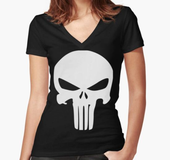 The Punisher Insignia Women's Fitted V-Neck T-Shirt by Tobberzix T-Shirt