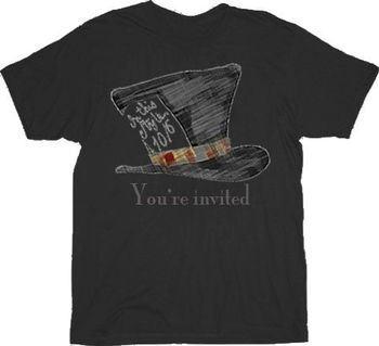 Alice in Wonderland Mad Hatter You're Invited Black T-shirt
