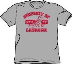 Garfield PROPERTY OF LASAGNA Funny Adult T-shirt Tee Shirt