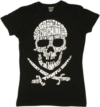Goonies Quote Filled Skull Baby Doll Tee