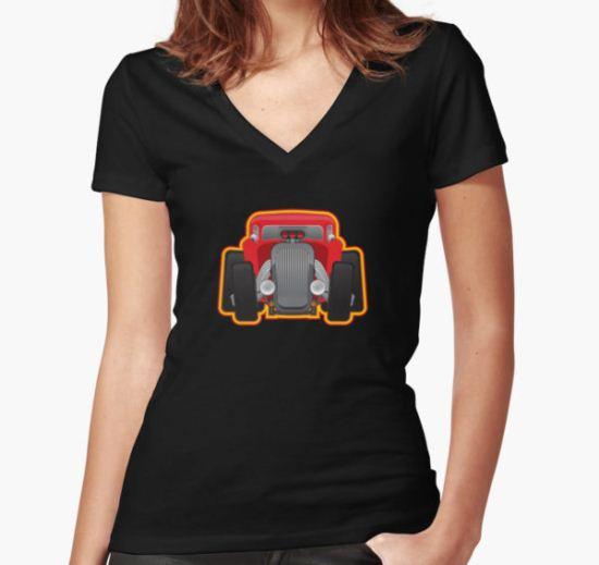 Hot Rod Women's Fitted V-Neck T-Shirt by CLIFFBLACK T-Shirt