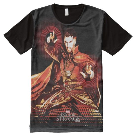 Doctor Strange Red Monochromatic Character Art All-Over Print Shirt