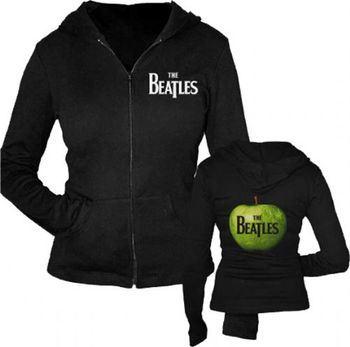 The Beatles Green Apple Zip Up Black Juniors Sweatshirt Hoodie
